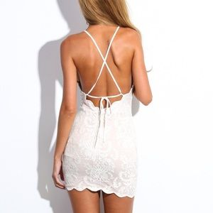 HELLO MOLLY || NWT nude halter dress backless
